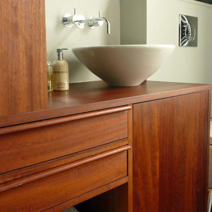 Bathroom cabinetry in reclaimed iroko timber