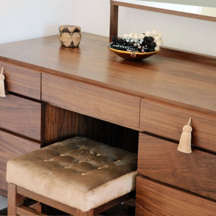 Dressing table and stool in walnut