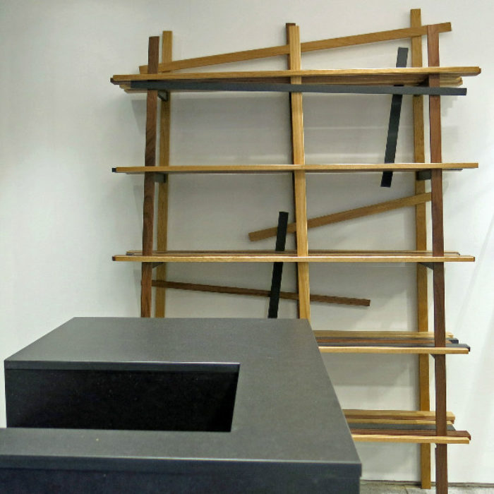 bespoke cabinetry for Nigel Hall Menswear, black Valchromat and mixed timbers