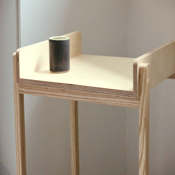 Side table in ash and birch ply