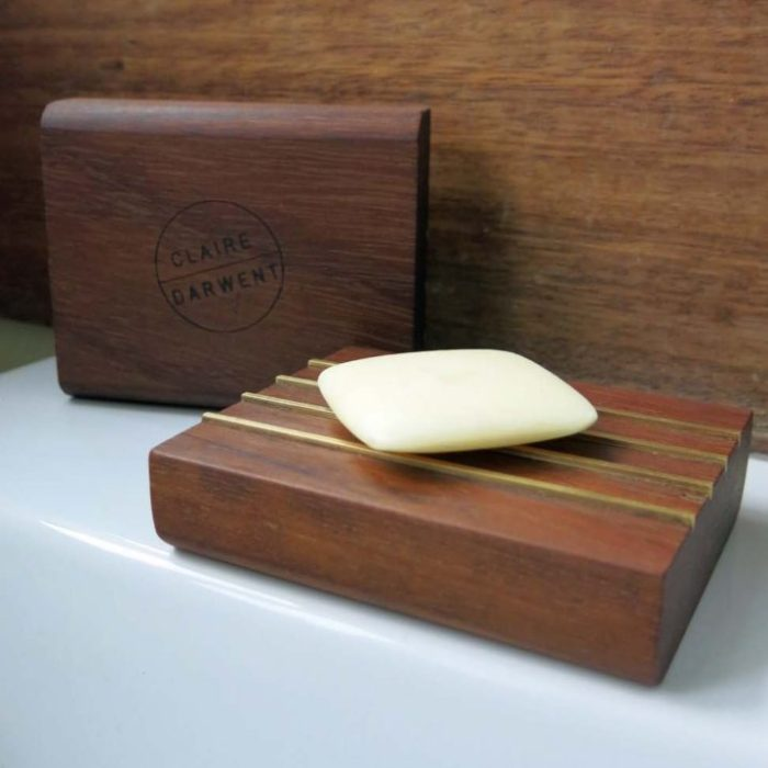 Soap bar in reclaimed iroko and inlaid brass