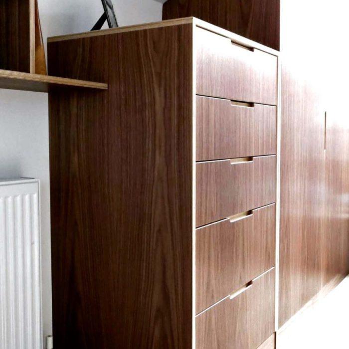 Tallboy and wardrobe, walnut veneer on plywood