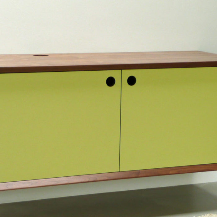 Floating sideboard in walnut and laminate