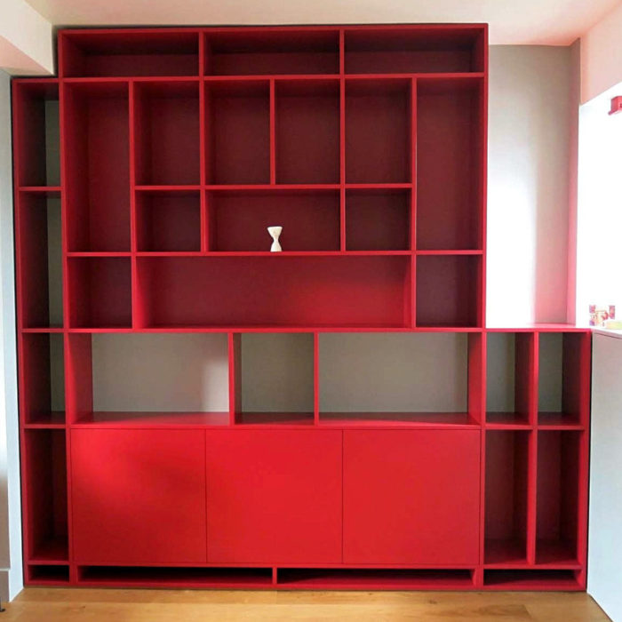 Shelving and cupboards in Rectory Red